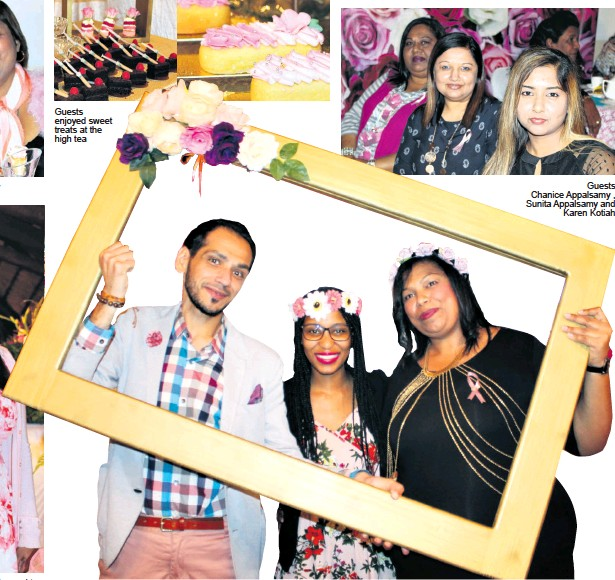 ??  ?? Pretty in Pink - Dr N Naidoo was dressed to impress Guests enjoyed sweet treats at the high tea Amanda Louw and Victoria Mokoena Photo booth fun - Ismail Motala, Palesa Nzuza and Louette Munusamy Guests Chanice Appalsamy , Sunita Appalsamy and Karen Kotiah