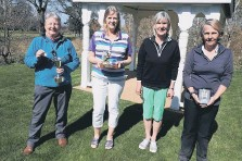 ??  ?? Ruth Leatherbarrow – winner of the Hazel Hooker 3 clubs and a putter, Irene Matheson – winner of the Spring Meeting, Jan Brice – Lady Captain, and Heather Skinner – winner of the Easter Greensomes