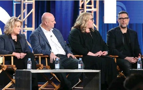 ?? FREDERICK M. BROWN/GETTY IMAGES ?? Barbara Hall of Madam Secretary, left, Shawn Ryan of S.W.A.T., and Gretchen Berg and Aaron Harberts of Star Trek: Discovery, speak about social issues.
