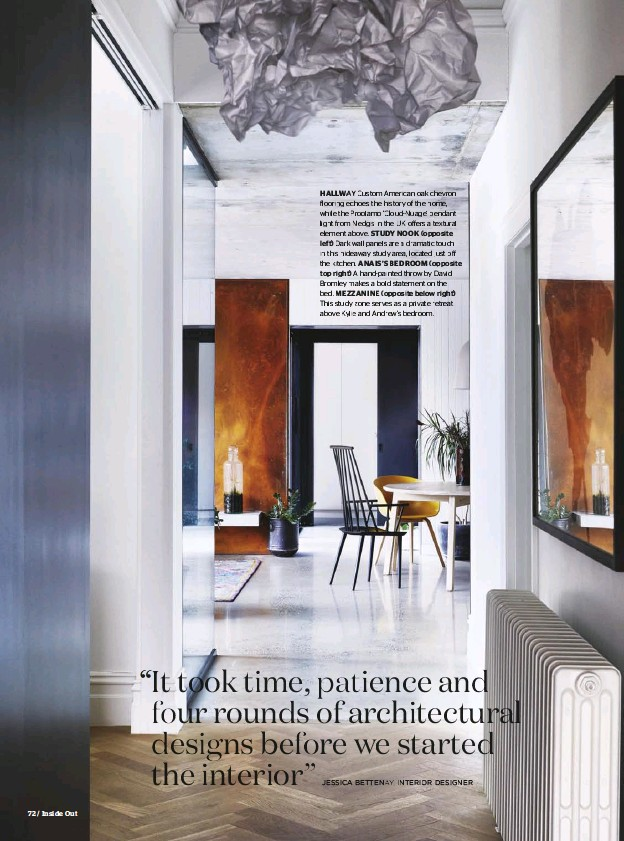 ??  ?? HALLWAY Custom American oak chevron flooring echoes the history of the home, while the Proplamp 'Cloud-Nuage' pendant light from Nedgis in the UK offffers a textural element above. STUDY NOOK (opposite left) Dark wall panels are a dramatic touch in...