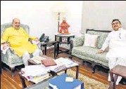 ?? PTI ?? Home Minister Amit Shah (left) during a meeting with West Bengal leader of Opposition Suvendu Adhikari.