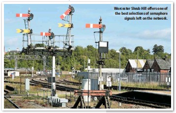 ??  ?? Worcester Shrub Hill offers one of the best selections of semaphore signals left on the network.