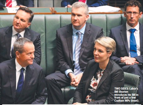 ??  ?? TWO SIDES: Labor's Bill Shorten introduces his Bill in front of just a few Coaltion MPs (inset).