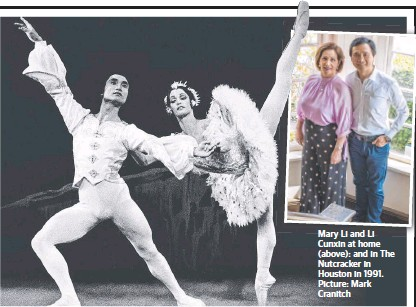 ?? Picture: Mark Cranitch ?? Mary Li and Li Cunxin at home (above): and in The Nutcracker in Houston in 1991.