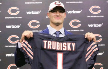 ??  ?? Mitch Trubisky is an NFL bust, unlike two franchise quarterbacks the Bears skipped over on draft night in 2017.