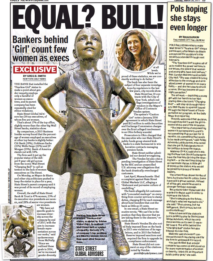 """??  ?? Banking firm State Street erected """"Fearless Girl"""" statue, sculpted by Kristen Visbal (top), to confront Wall Street bull as symbol of equality. But only 17% of company's top positions are filled by women, worse than most other financial firms."""