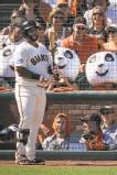 ?? Carlos Avila Gonzalez / The Chronicle 2014 ?? The panda heads cheered on the Giants' Pablo Sandoval, here in the 2014 postseason.