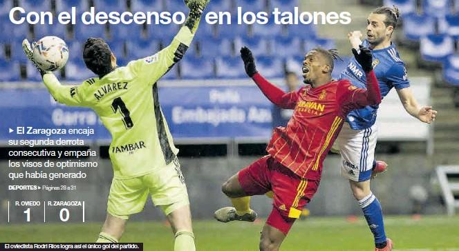 ?? IRMA COLLIN ?? El oviedista Rodri Ríos logra así el único gol del partido.