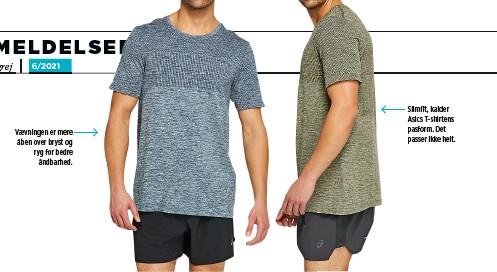 ??  ?? Vaevningen er mere åben over bryst og ryg for bedre åndbarhed. Slimfit, kalder Asics T-shirtens pasform. Det passer ikke helt.