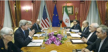 ?? (Brendan Smialowski/Reuters) ?? WENDY SHERMAN (left) at a 2015 meeting with Iranian officials.
