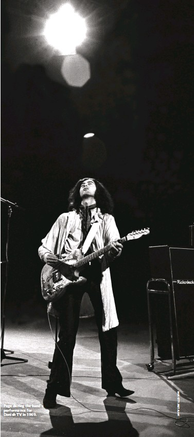??  ?? Page during the band's performance for Danish TV in 1969.