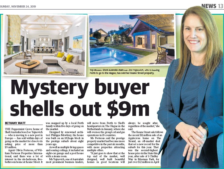 ??  ?? Top drawer: Shell Aus­tralia chair­man Zoe Yu­jnovich, who is leav­ing Perth to go to the Hague, has sold her Keane Street prop­erty.