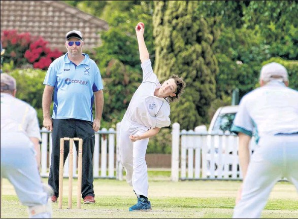??  ?? SHOWING STYLE: Young bowler for Delatite C grade is Max Mahoney showing his style.