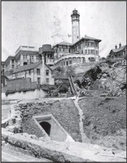 ?? UNITED STATES LIGHTHOUSE SOCIETY ?? Alcatraz as seen in 1910. In 1909, the lighthouse was rebuilt on a new location away from the new military prison.