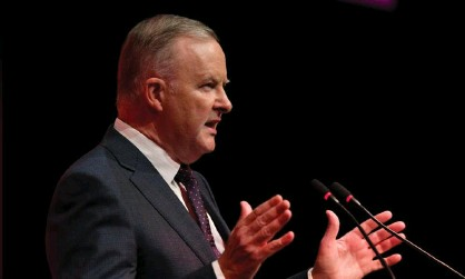 ?? Photograph: Darren England/AAP ?? Anthony Albanese will tell a summit on Tuesday that Australia's transition to clean energy will create jobs across the economy because renewables are the cheapest form of energy.
