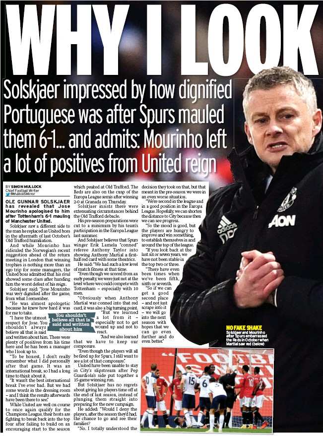 ??  ?? NO FAKE SHAKE Solskjaer and Mourinho after Spurs embarrassed the Reds in October when Martial saw red (below)