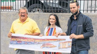 ?? SADIE-RAE WERNER/SPECIAL TO THE TELEGRAM ?? From left, Coun. Sandy Hickman, artist Julie Lewis and a representative from the Paint Shop reveal the design for a mural commemorating the Great Fire of 1892 on Mcbride's Hill.