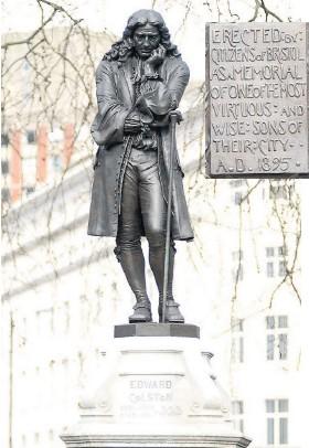 ??  ?? Left, Edward Colston's statue, and the original plaque