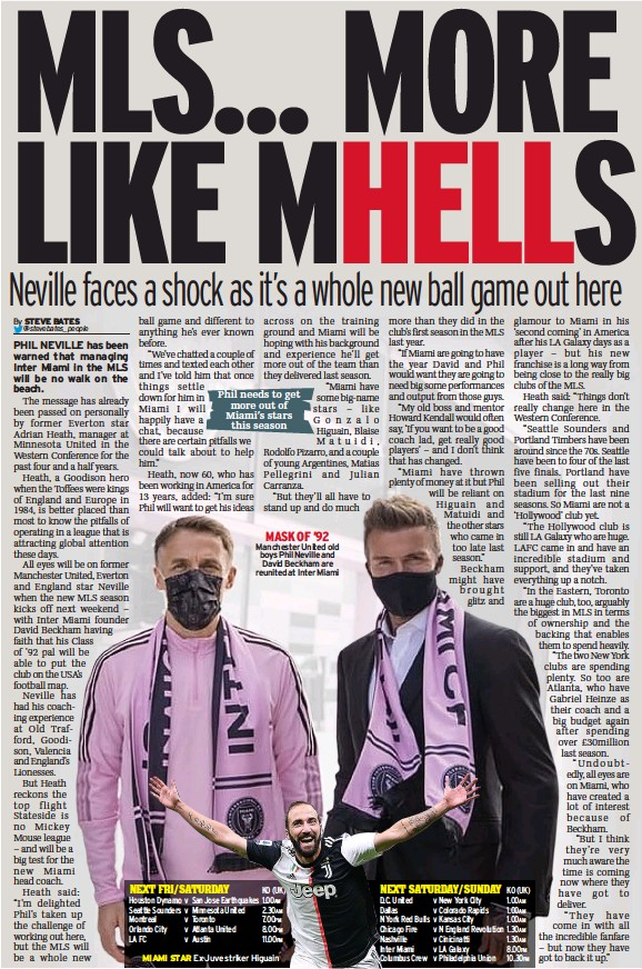 ??  ?? MASK OF '92 Manchester United old boys Phil Neville and David Beckham are reunited at Inter Miami
