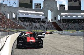 ?? Humphrey, Matt Courtesy of iRacing ?? THE COLISEUM, rendered here in an iRacing simulation of a NASCAR race, will be transformed with a temporary, quarter-mile asphalt track for the Clash.