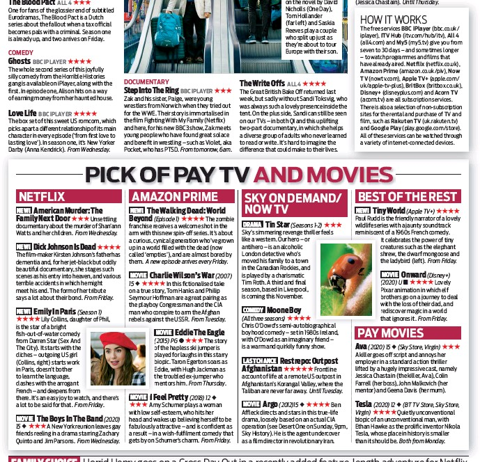??  ?? ALL4 BBC IPLAYER The free services BBC iplayer (bbc.co.uk/ iplayer), ITV Hub (itv.com/hub/itv), All4 (all4.com) and My5 (my5.tv) give you from seven to 30 days – and sometimes longer – to watch programmes and films that have already aired. Netflix (netflix.co.uk), Amazon Prime (amazon.co.uk/piv), Now TV (nowtv.com), (apple.com/ uk/apple-tv-plus), (britbox.co.uk), Disney+ (disneyplus.com) and Acorn TV are all subscription services. There is also a selection of non-subscription sites for the rental and purchase of TV and film, such as Rakuten TV (uk.rakuten.tv) and Google Play (play.google.com/store). All of these services can be watched through a variety of internet-connected devices.