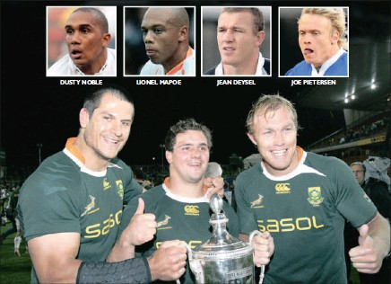 ?? Pictures: GALLO IMAGES ?? DUSTY NOBLE LIONEL MAPOE JEAN DEYSEL JOE PIETERSEN With Heinrich Brussow (centre) having made the No 6 jersey his own this year, and Pierre Spies (left) close to his best again at eighthman, Schalk Burger will in all likelihood take over at...