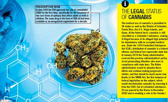??  ?? PRESCRIPTION HERB In June 2018 the FDA approved the sale of cannabidiol (CBD) for the first time, specifically for the treatment of two rare forms of epilepsy that affect adults as well as children. The same drug in the form of CBD oil had been available as an unregulated supplement for a decade.
