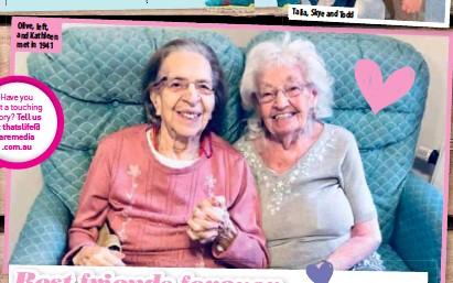 ??  ?? Olive, left, and Kathleen met in 1941