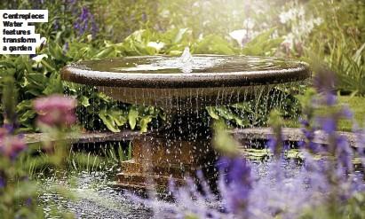 ??  ?? Centrepiece: Water features transform a garden 02 Caption White