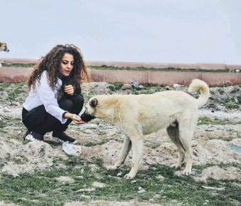 ??  ?? Painter Şeyma Kayan feeds a stray dog in central Konya, Turkey, April 13, 2021.