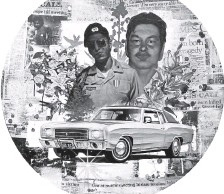 """?? Grace Gutierrez / Courtesy photo ?? A piece by artists Adrian Raya and Ramon Trujillo that memorializes two 21-year-old men, Juan Louis Garcia and Jeffrey """"Beaver"""" Cordova, who were shot by a police officer in Longmont in 1980, can be seen at Firehouse Art Center through Jan. 9."""