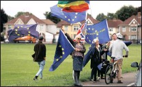 ??  ?? Anti-Brexit campaigner­s protest outside a health and leisure centre in Bristol, England, on Friday. PICTURE: REUTERS
