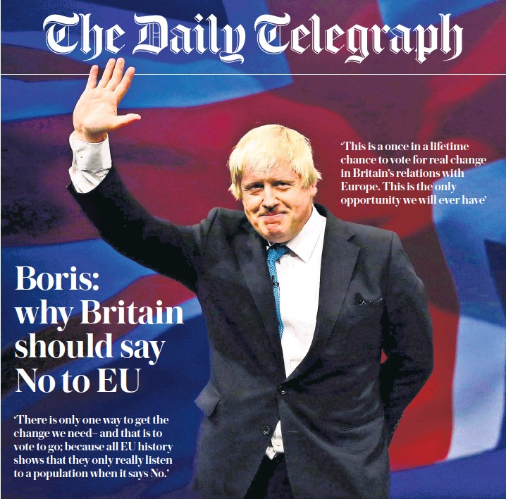 ??  ?? Boris Johnson, the Mayor of London, yesterday angered David Cameron's allies in a surprise move to back Brexit
