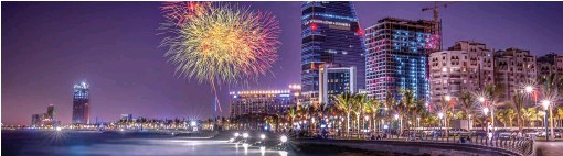 ?? SHUTTERSTOCK: OSAMA AHMED MANSOUR ?? The annual Saudi National Day celebrations include dramatic firework displays around the country