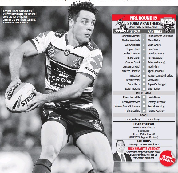 ?? Pic­ture: MARK EVANS ?? Cooper Cronk has told his Storm team­mates it's time to stop the rot with a win against the Pan­thers tonight.