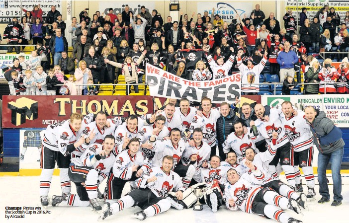 ??  ?? Champs Pirates win the Scottish Cup in 2016.Pic by Al Goold