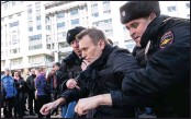 ?? PICTURE: ASSOCIATED PRESS ?? Russia's leading opposition figure Alexei Navalny is detained by police in Moscow, Russia, yesterday. Navalny and his supporters held anti-corruption demonstrations throughout the country yesterday.