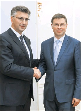 ??  ?? Latvijac Valdis Dombrovskis ostaje najvažniji potpredsjednik EK za Hrvatsku na putu prema euru