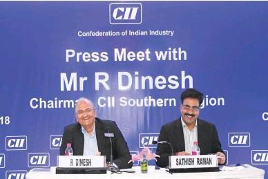 ??  ?? R Dinesh, Chairman - CII Southern Region & Joint Managing Director of T V Sundaram Iyengar & Sons Ltd and Sathish Raman, Regional Director, CII