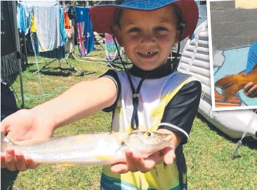 ??  ?? GOOD START: Hayden Stewart, 4, from Redcliffe caught his first fish with his dad at Yamba and (above right) Matt Webb with a solid coral trout he caught while fishing the reefs off Noosa Heads.