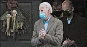 ?? SUSANWALSH/AP ?? President-elect Joe Biden leaves after attending Mass at a Catholic church in Wilmington, Delaware, on Saturday.