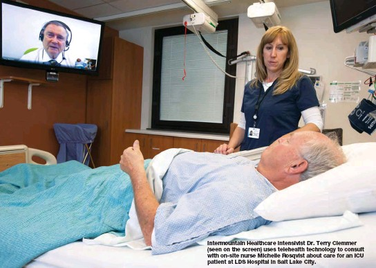 ??  ?? Intermountain Healthcare intensivist Dr. Terry Clemmer (seen on the screen) uses telehealth technology to consult with on-site nurse Michelle Rosqvist about care for an ICU patient at LDS Hospital in Salt Lake City.