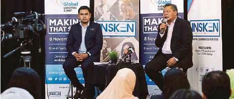 ?? [ FOTO EIZAIRI SHAMSUDIN / BH] ?? Muhd Firdaus (kanan) dan Ketua Pembangunan Perusahaan Berprestasi Tinggi INSKEN Dr Izham Shah Datuk Arif Shah prapelancaran Persidangan Kemuncak Pemasaran Global (GMS) di Petaling Jaya, semalam.