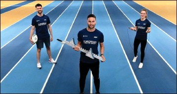 ??  ?? Radio presenter Eoghan McDermott, sprinter Brian Gleeson and boxer Kellie Harrington who are European Week of Sport ambassadors.