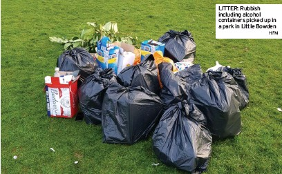 ?? HFM ?? LITTER: Rubbish including alcohol containers picked up in a park in Little Bowden