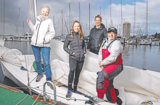 ??  ?? Skippers Judy Howison, left, Kirsty Salter, Sophie Ciszek and Clare Brown get set fo the women's keelboat regatta. Picture: Zak Simmonds