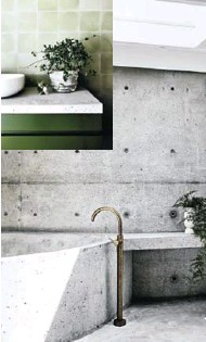 ??  ?? A concrete wet room — floors, walls, bath and side table — by Damian was added to the original bathroom and is one of the couple's favourite rooms. The minimalist tapware is the perfect accompaniment to the starkness of the concrete.