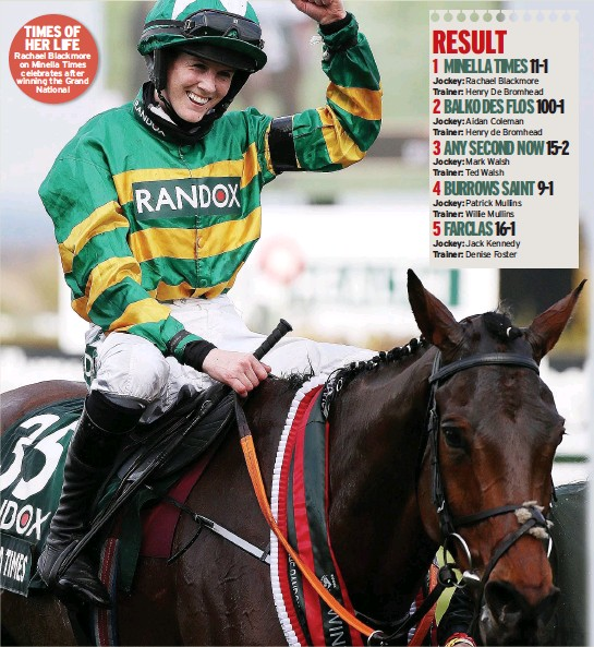 ??  ?? Rachael Blackmore on Minella Times celebrates after winning the Grand National
