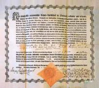 ?? Fotografiji osebni arhiv A. Š. ?? Listina čebelarske družbe v Zgornji Lužici za Petra Pavla Glavarja z dne 5. junija 1772
