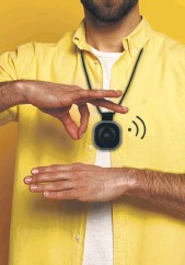 ??  ?? Left, a baby monitor that aims to reduce the risk of Sids; above, a sign language translator to ease communication with the hearing-impaired